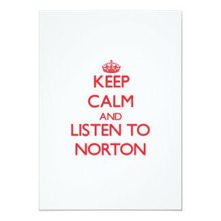 """Guarde la calma y escuche Norton Invitación 5"""" X 7"""""""