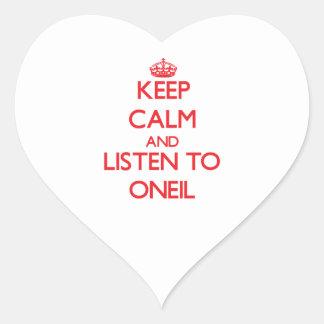Guarde la calma y escuche Oneil Pegatina En Forma De Corazón