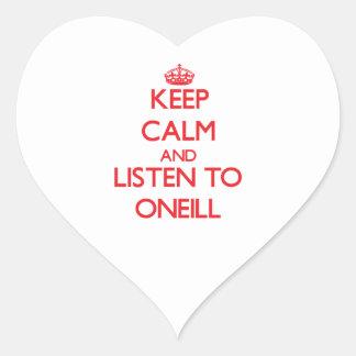 Guarde la calma y escuche Oneill Pegatina En Forma De Corazón