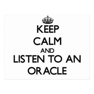 Guarde la calma y escuche Oracle Tarjeta Postal