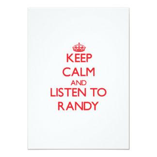 Guarde la calma y escuche Randy Invitaciones Personales