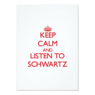 Guarde la calma y escuche Schwartz Invitación 12,7 X 17,8 Cm