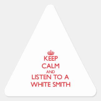 Guarde la calma y escuche Smith blanco Calcomanías Trianguloes