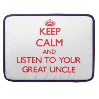 Guarde la calma y escuche su gran tío fundas para macbook pro
