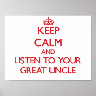 Guarde la calma y escuche su gran tío impresiones