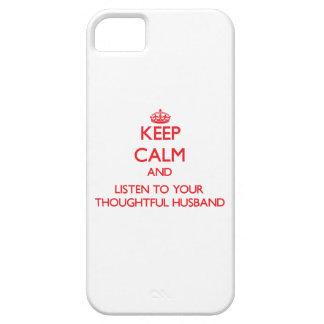 Guarde la calma y escuche su marido pensativo iPhone 5 Case-Mate coberturas