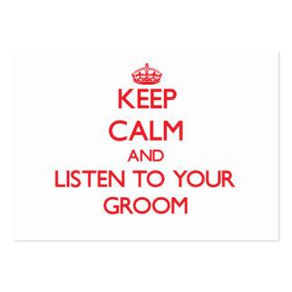 Guarde la calma y escuche su novio plantillas de tarjetas personales