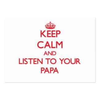 Guarde la calma y escuche su papá plantilla de tarjeta de visita