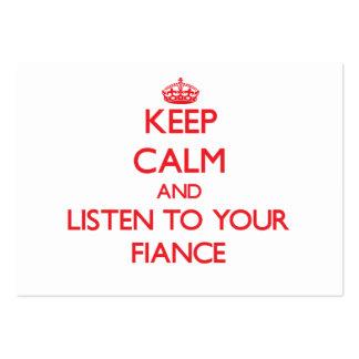 Guarde la calma y escuche su prometido tarjeta de visita