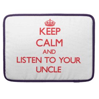 Guarde la calma y escuche su tío fundas macbook pro