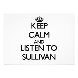 Guarde la calma y escuche Sullivan Invitacion Personalizada