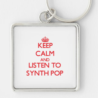 Guarde la calma y escuche SYNTH POP Llaveros Personalizados