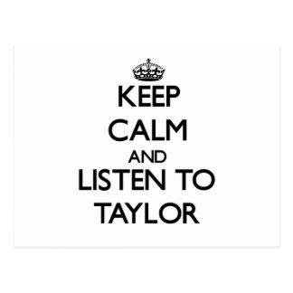 Guarde la calma y escuche Taylor Postales