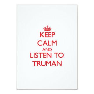 Guarde la calma y escuche Truman Invitacion Personal