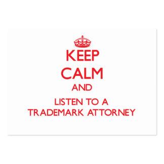 Guarde la calma y escuche un abogado de la marca r tarjeta de visita