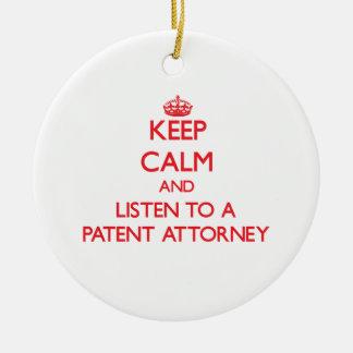 Guarde la calma y escuche un abogado de patentes ornamento de reyes magos