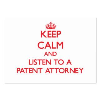 Guarde la calma y escuche un abogado de patentes tarjetas de visita