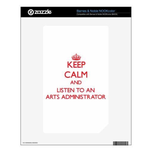 Guarde la calma y escuche un administrador de arte calcomanía para el NOOK color