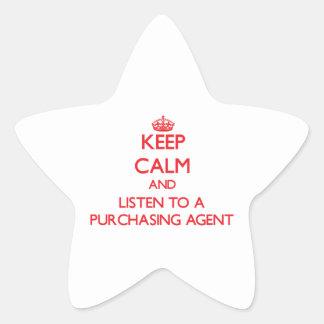 Guarde la calma y escuche un agente de compra calcomanías forma de estrellaes personalizadas