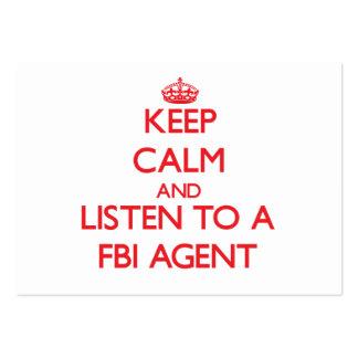 Guarde la calma y escuche un agente del FBI Tarjetas De Visita Grandes