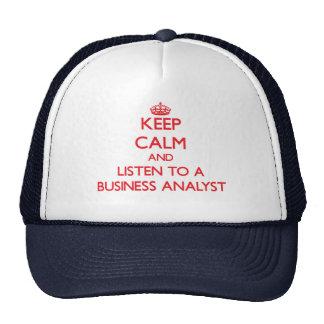 Guarde la calma y escuche un analista del negocio gorros bordados