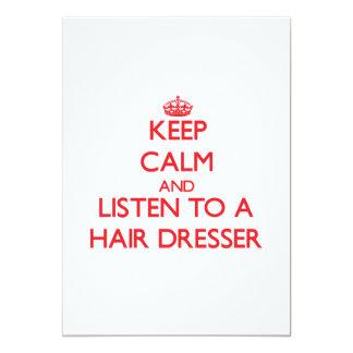 Guarde la calma y escuche un aparador del pelo invitación 12,7 x 17,8 cm