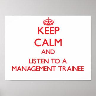 Guarde la calma y escuche un aprendiz de la gestió poster