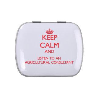 Guarde la calma y escuche un asesor agrícola latas de caramelos