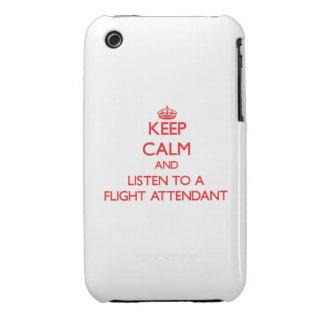 Guarde la calma y escuche un asistente de vuelo iPhone 3 Case-Mate coberturas