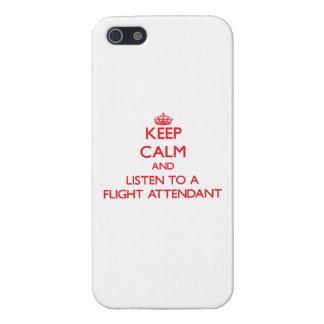Guarde la calma y escuche un asistente de vuelo iPhone 5 protector