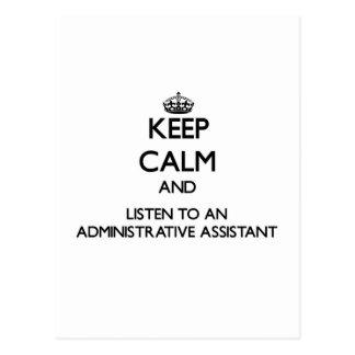 Guarde la calma y escuche un Assistan administrati Postal