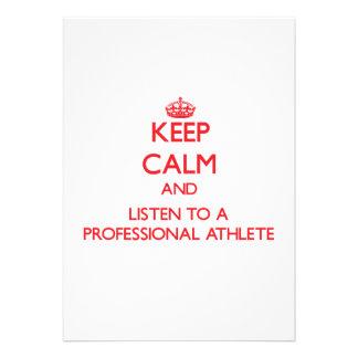 Guarde la calma y escuche un atleta profesional anuncio personalizado