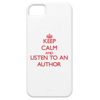 Guarde la calma y escuche un autor iPhone 5 carcasa