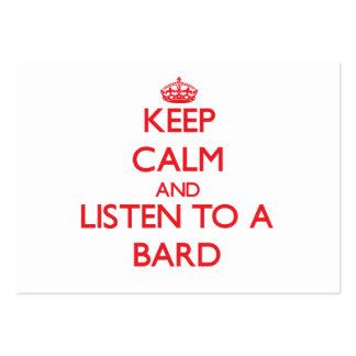 Guarde la calma y escuche un bardo tarjetas de visita