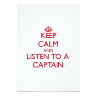 """Guarde la calma y escuche un capitán invitación 5"""" x 7"""""""