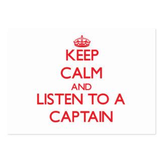 Guarde la calma y escuche un capitán tarjetas de visita grandes