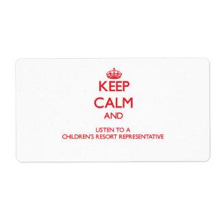 Guarde la calma y escuche un centro turístico Repr Etiqueta De Envío