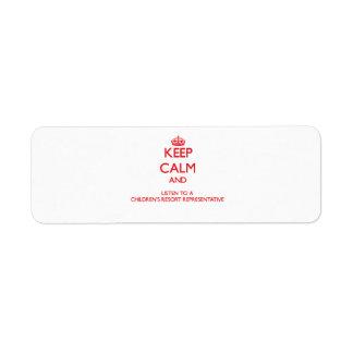 Guarde la calma y escuche un centro turístico Repr Etiqueta De Remite