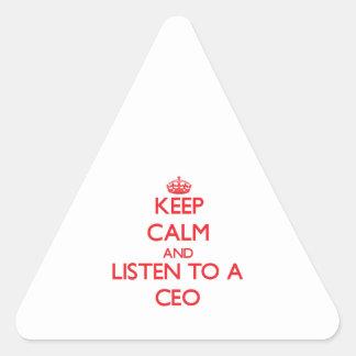 Guarde la calma y escuche un CEO Pegatinas Trianguladas