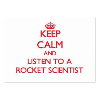 Guarde la calma y escuche un científico de Rocket Tarjetas De Visita
