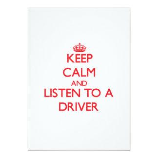 """Guarde la calma y escuche un conductor invitación 5"""" x 7"""""""