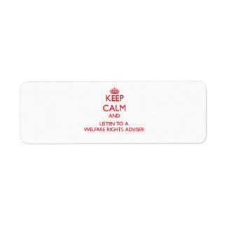 Guarde la calma y escuche un consejero de las dere etiqueta de remite