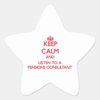 Guarde la calma y escuche un consultor de las calcomanías forma de estrellas personalizadas