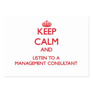 Guarde la calma y escuche un consultor en administ tarjeta de visita