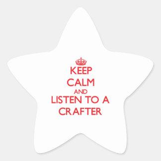 Guarde la calma y escuche un Crafter Pegatinas Forma De Estrellaes Personalizadas