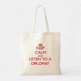 Guarde la calma y escuche un diplomático bolsa tela barata