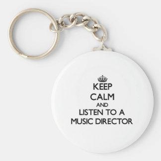 Guarde la calma y escuche un director musical llavero redondo tipo pin
