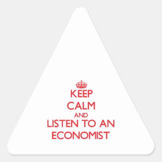 Guarde la calma y escuche un economista pegatinas triangulo personalizadas