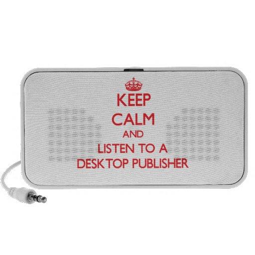 Guarde la calma y escuche un editor de escritorio portátil altavoz