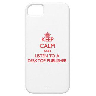 Guarde la calma y escuche un editor de escritorio iPhone 5 carcasa